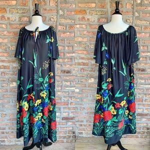 VINTAGE Black Floral Maxi Dress NWT XL XXL A6